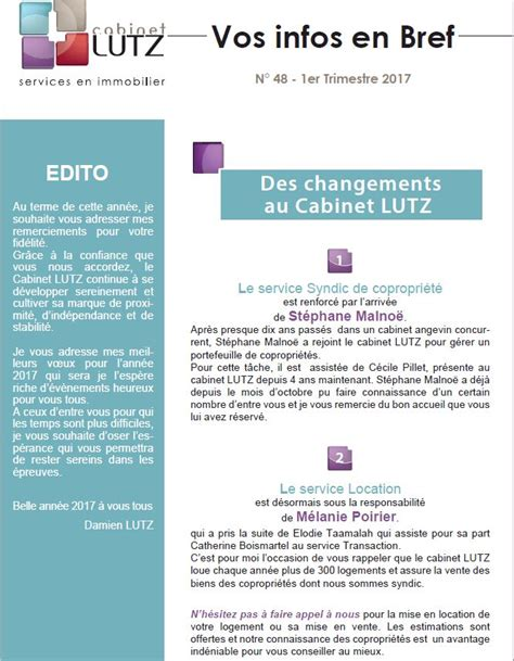 Cabinet Lutz Angers by Cabinet Lutz Services En Immobilier 187 Syndic Immo
