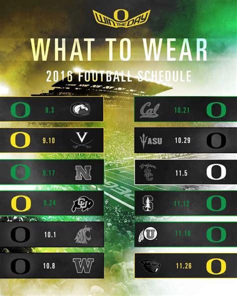 colors schedule 2016 football schedule color to wear oregon ducks
