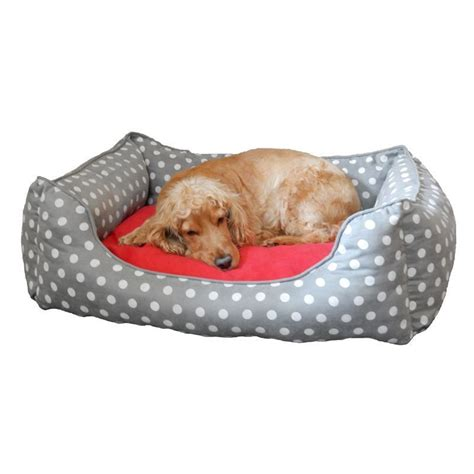 buy dog bed medium polka dot dog pet bed grey buy online at qd stores