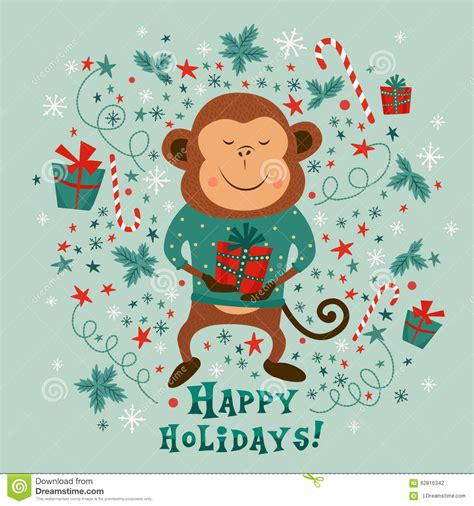 new year monkey message new year card with monkey and text happy holidays