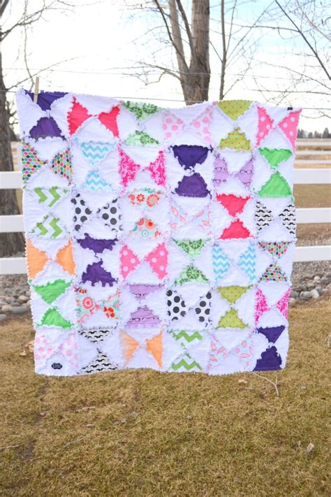 Girl Rag Quilt Hourglass Baby Blanket Crib Size Quilt Baby Blankets For Cribs