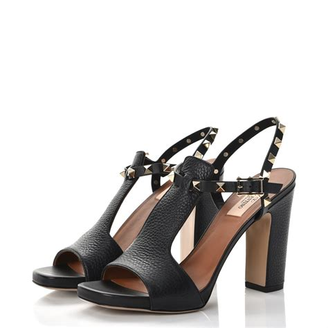 Kaos Valentino Shoes Bw valentino grained calfskin rockstud ankle sandals 37 5 black 238076