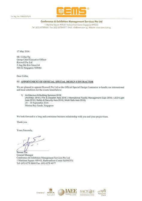 appointment letter singapore news