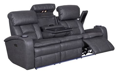 Zenith Power Reclining Sofa With Drop Table At