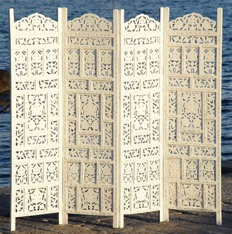 74 quot hand painted wood room divider ebay 4 panel indian hand carved wooden screen white room