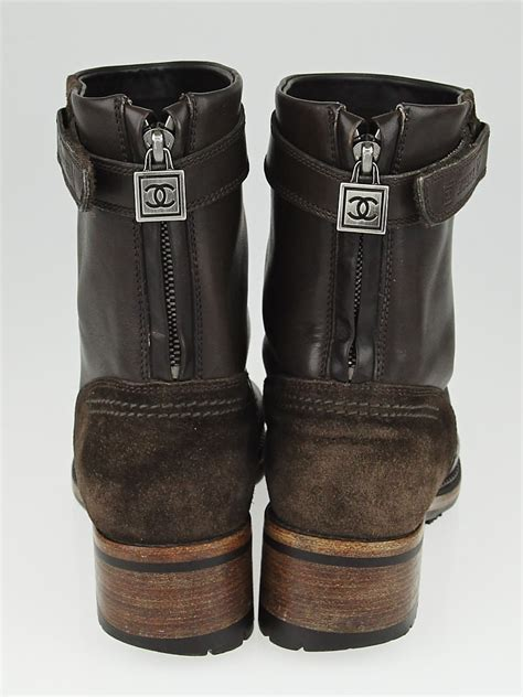 chanel brown leather motorcycle boots size 9 39 5 yoogi
