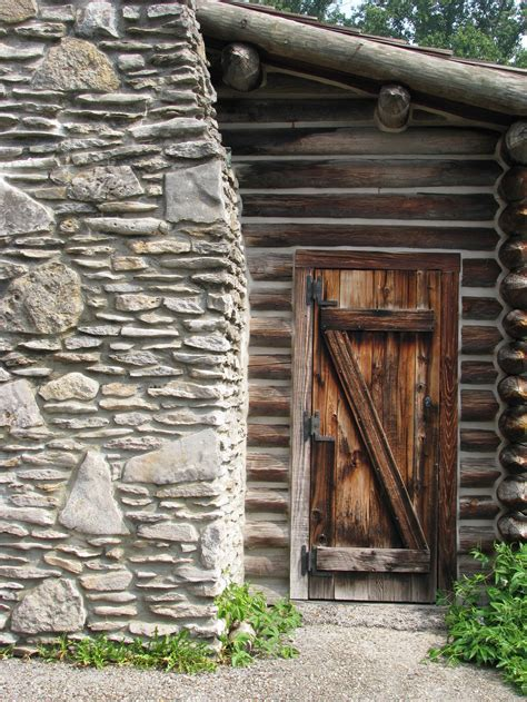 00129 wood log cabin door and chimney by emstock