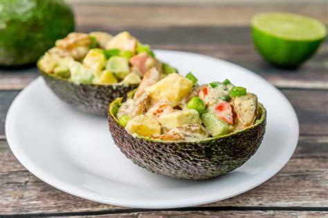 prawn taco boats tropical shrimp avocado salad boats babaganosh