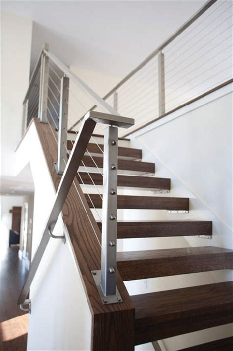 General Builders And Home Decorators cable rails amp open treads contemporary staircase