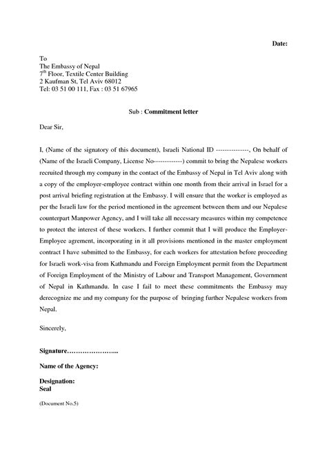 Employment Letter Of Commitment Sle 12 Best Images Of Employment Commitment Agreement Employment Agreement Letter Sle