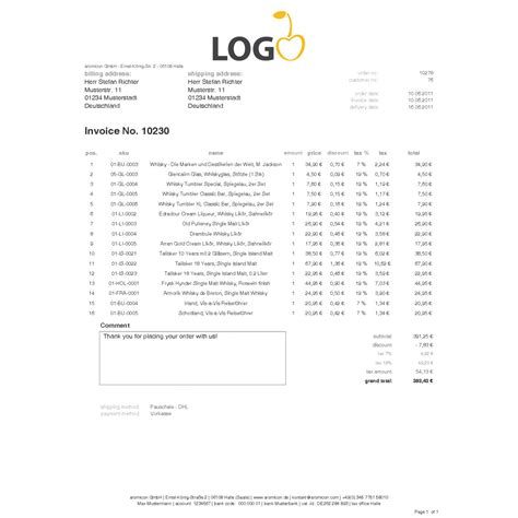 Rechnung Englisch Pdf Standard Invoice Englisch Rechnungstemplate Aromicon Agentur