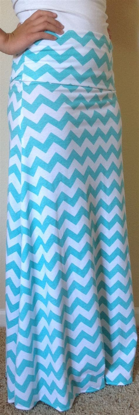 blue and white chevron maxi skirt summer by