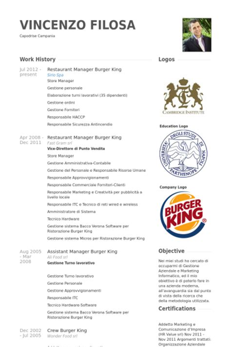 Resume For Burger King by Exle Resume Burger King Resume Exle