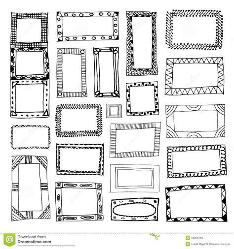 cornici disegnate insieme delle cornici disegnate a mano immagine stock