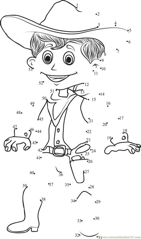 preschool rodeo coloring pages connect the dots smart cowboy worksheet dot to dots page