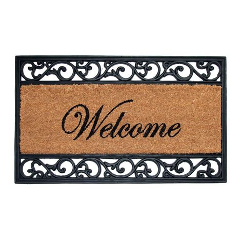 Welcome Mats by Trafficmaster Welcome 18 In X 30 In Coir And Rubber Door
