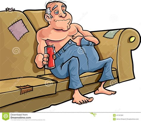 cartoon sitting on couch cartoon man sitting on a couch with a beer stock
