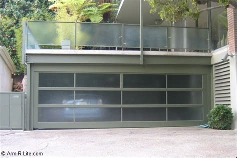 aluminum and frosted glass garage door by arm r lite