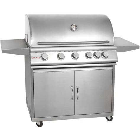 blaze 40 quot 5 burner stainless steel gas grill with cart natural ng