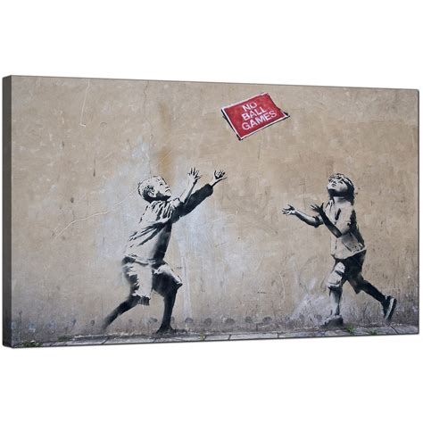 Amazing Black And White Modern Prints #4: Cheap-banksy-canvas-pictures-children-playing-with-no-ball-games-sign-urban-art-1r182m.jpg