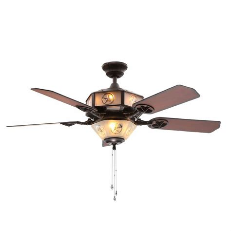 Hton Bay Lonestar 52 In Indoor Aged Copper And White Copper Ceiling Fan With Light