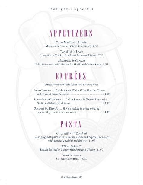 specials menu template specials menu template working