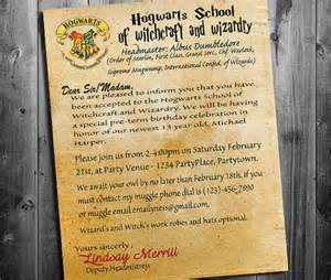 Harry Potter Acceptance Letter Birthday Invitation Harry Potter Birthday Invitation Harry Potter By Chalkduststudio