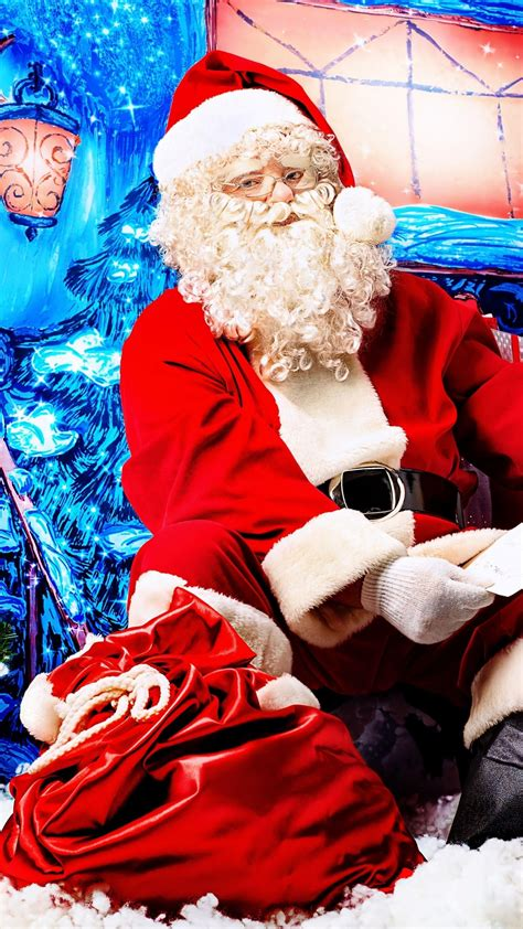 wallpaper christmas santa claus fir tree gifts fairy tale snow winter holidays holidays