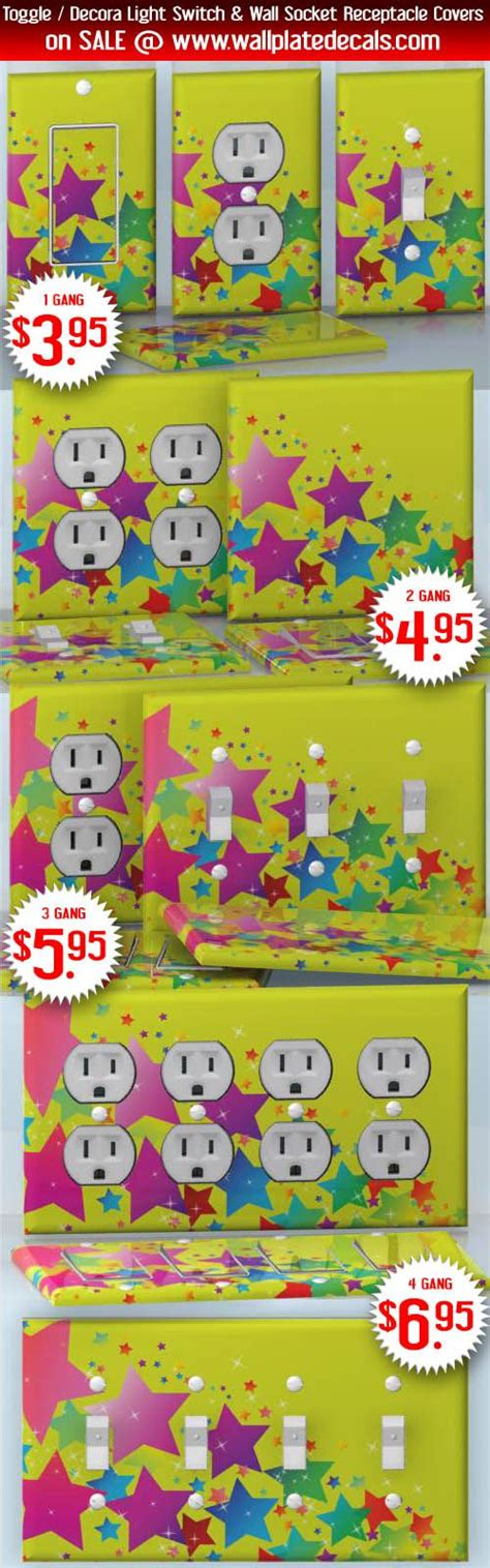 star mirror stickers x double:  star fireworks multicolor stars on yellow wallplate skin stickers
