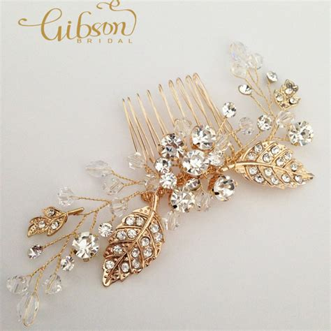Wedding Hair Accessories Gold by Free Shipping Flower Wedding Hair Comb Gold Bridal