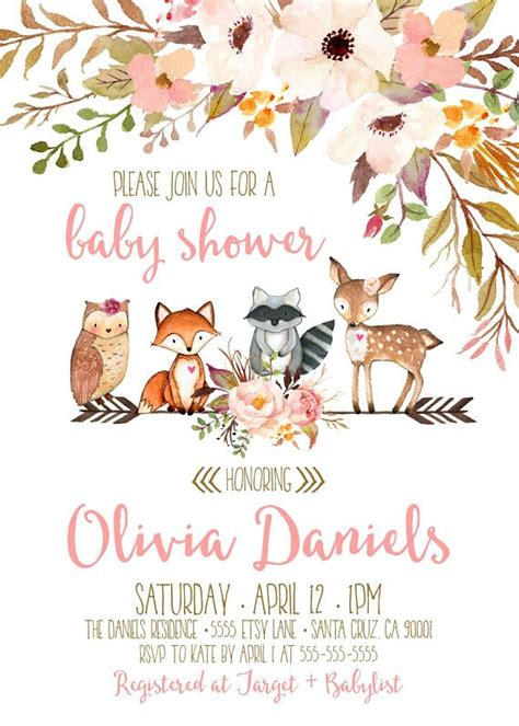 Baby Animals Theme For Baby Shower by Woodland Baby Shower Invitation Deer Baby Shower