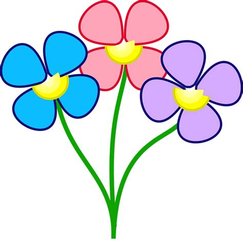 flower clipart flowers three blue 183 free vector graphic on pixabay