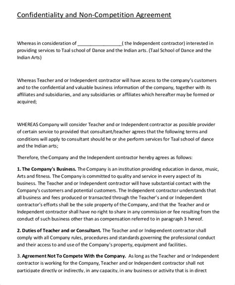 non compete agreement template pdf contractor non compete agreement 9 free word pdf