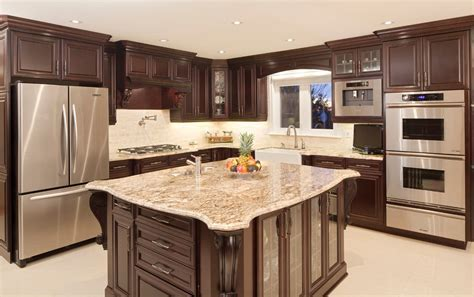 dark maple cabinets Kitchen Contemporary with backsplash