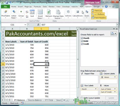 Excel Formula Credit Balance how to calculate running total in excel 2013 excel pivot