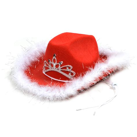 6 x christmas festive red cowboy hat feather trim light