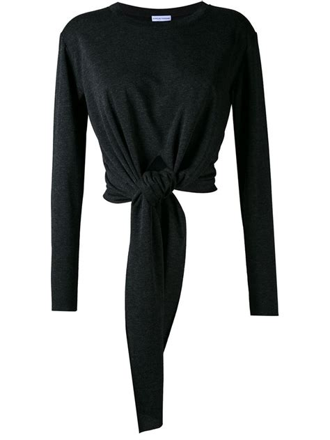 Sleeve Tie Front T Shirt scanlan theodore sleeve tie front t shirt in black lyst