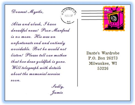 Cards Addressed And Mailed - dante s wardrobe fictional correspondences addressing