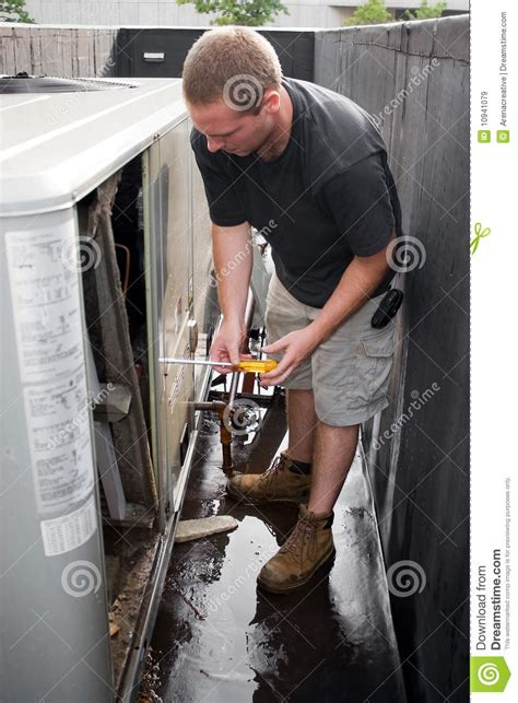 hvac technician working stock image image  electricity