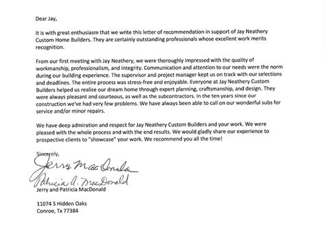 Recommendation Letter For Outstanding J W Neathery Inc