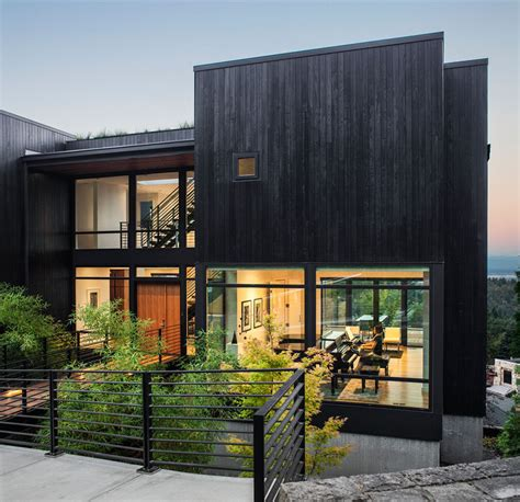 this new house was designed for on a steep hillside