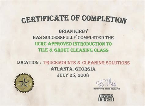 Upholstery Certificate by Carpet Tile And Upholstery Cleaning Awards And Certifications