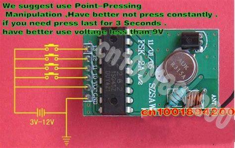 315mhz Rf Remote Module Pt2262 Pt2272 4 Channel Remote Button 4ch rf transmitter receiver modules system pt2262 pt2272