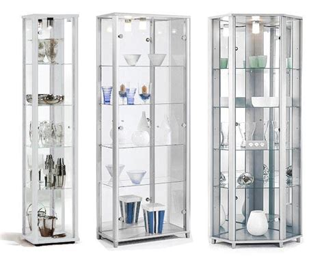 Cabinet Miror 30x50x15 Cm Elegan home white glass display cabinets single or