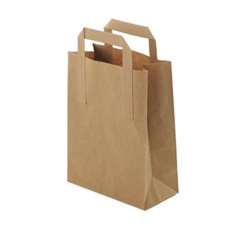 Paper Bag - small brown paper takeaway bags with handles pk 25