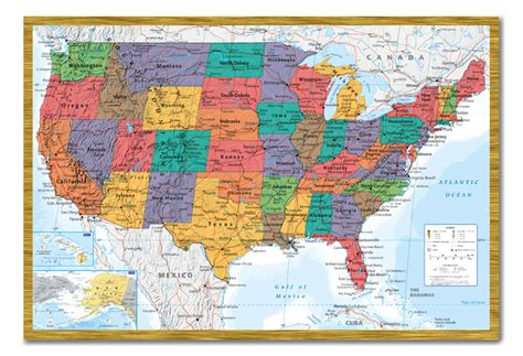 framed usa united states map wall chart poster ready to
