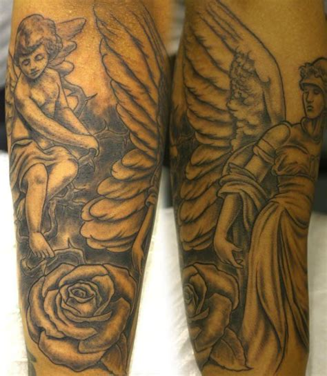 angel roses tattoo cherub on and both leg tattooimages biz