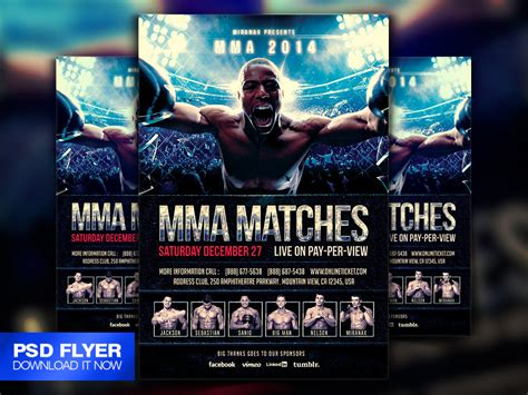 mma ufc boxing fight flyer template psd by art miranax on