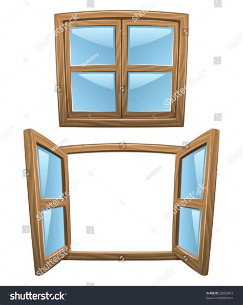 close window cartoon wooden windows closed open vector stock vector