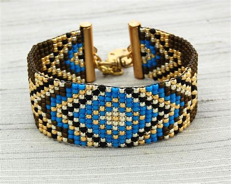 bead loom bracelet clasp loom beaded bracelet with glass seed brass toggle ends